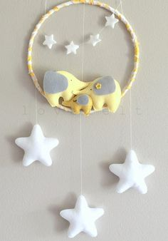 Baby mobile Elephant mobile baby mobile by GiseleBlakerDesigns Baby Crib Mobile, Baby Cribs, Baby Mobiles, Baby Decor, Nursery Decor, Felt Crafts, Paper Crafts, Elephant Mobile, Baby Car Mirror