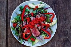 Caprese Salad, Spicy, Meat, Chicken, Recipes, Red Peppers, Recipies, Ripped Recipes, Cooking Recipes