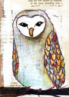 barn owl 5x7 PRINT of multimedia painting - winter bird with colorful feathers on his wings