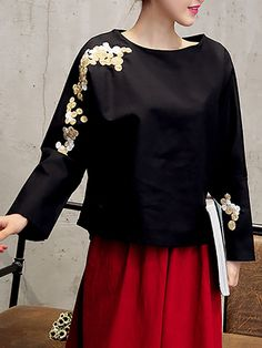 Vintage Gold Embroidery Long Sleeves O-neck Shirts