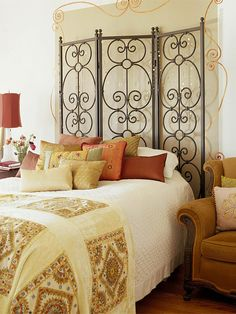 Create height with metal screen for headboard!