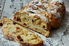 Recipes - kalács with marzipan and fruit Foods With Gluten, Marzipan, Bread Recipes, Banana Bread, Eat, Cooking, Desserts, Kitchen, Kochen