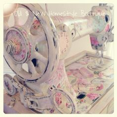 Loved doing this :) An old Singer sewing machine given a makeover using homemade chalk paint & decoupaged with love ❤️