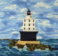 Eldred Rock AK Lighthouse quilt pattern ON by KarenKuskeQuilts Pattern Blocks, Pattern Art, Bed Quilt Patterns, Ocean Quilt, Landscape Quilts, Custom Quilts, Barn Quilts, Nautical Theme, Quilting Designs