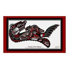 """HAIDA SPIRIT"" Sea Otter & Baby Haida-styled Art Print"