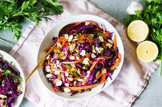 Red Cabbage Slaw with Tangy Herb Dressing Cabbage Slaw, Red Cabbage, Large Salad Bowl, Salad Bowls, Tangier, Fresh Ginger, Acai Bowl, Carrots, Dressing