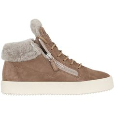 Giuseppe Zanotti Design Women 20mm Shearling & Suede Sneakers ($750) ❤ liked on Polyvore featuring shoes, sneakers, taupe, giuseppe zanotti, zip sneakers, giuseppe zanotti trainers, suede sneakers and suede leather shoes