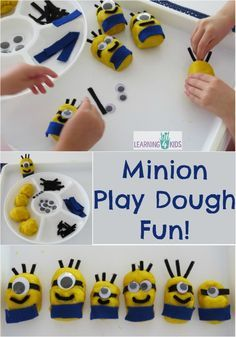 The Minion Play Dough Fun activity was inspired by the Minions in the movie Despicable Me. Design and create your very own minion character using yellow play dough and other props. Playdough Activities, Art Therapy Activities, Craft Activities, Motor Activities, Minions, Minion Party, Survival Prepping, Survival Skills, Survival Food