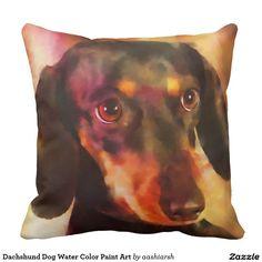 #Dachshund #Dog #WaterColor Paint #Art #Throw #Pillow