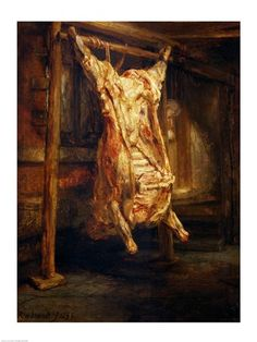 Rembrandt. Slaughtered Ox. 1665. Oil on beech panel. Louvre. #barroque #barroco #dutch