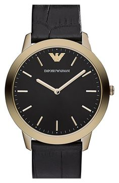 Emporio Armani Round Croc Embossed Leather Strap Watch, 42mm available at #Nordstrom