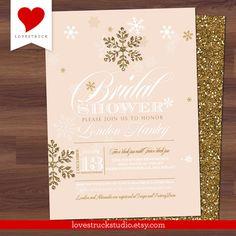Winter Bridal Shower Invitation Glitter Snowflake - Peach, Blush, Pink, Coral - by LoveStruckStudio