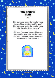 Nursery Rhyme The Muffin Man. Kids will love this fun sing along rhyme! Free lyrics and music on our website Nursery Rhymes Video Songs, Nursery Rhymes Preschool, Nursery Rhymes Songs, Baby Songs, Toddler Preschool, Kindergarten Songs, Preschool Songs, Preschool Colors, Kids Poems