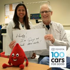 "Gary's family still has a husband and father because of blood transfusions: he needed 29 units after a liver transplant. Vote for Puget Sound Blood Center on Saturday (10/5) in Toyota 100 Cars for Good to help us win a new car to support our blood programs and patients like Gary. Find us under ""finalists"" at http://100carsforgood.com/ and click ""remind me"" to set a voting reminder."