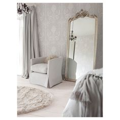 Laura Ashley Wallpaper Josette White Dove Grey 10m - Masters Home Improvement