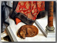 Dieric Bouts - Diptych of The Justice of Emperor Otto (ca.1460). Detail. Royal Museum of Fine Arts of Belgium, Brussels. Dogs in Fine Art.