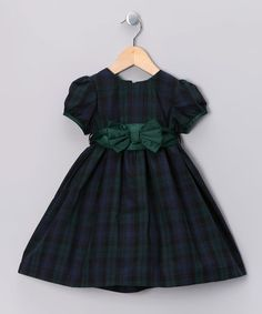 Take a look at this Green Plaid Bow Dress - Infant, Toddler & Girls by Donita on #zulily today!