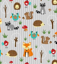 Novelty Cotton Fabric- Woodland Friends Orange & Gray, , hi-res