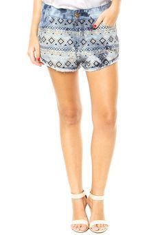 Shorts Jeans DIMY Bordado Azul - Compre Agora | Dafiti Brasil
