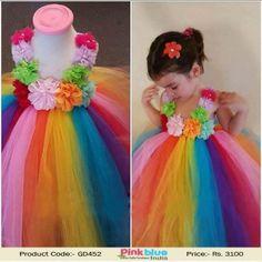 Gorgeous Rainbow Flower Girl Dress - Pretty Flower Tutu Dress for Little Princess, Baby Girl First Birthday Dress, Toddler Wedding Tutu Dress ( 1-11 Yrs )