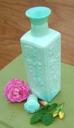 VINTAGE GREEN BOTTLE - Jade Green and Blue Floral Design Jim Beam Decanter. $22.00, via Etsy.