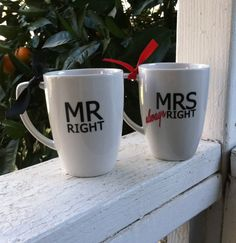 Mr Right Mrs Always Right Coffee Mugs by CreativeVinylDecor, $15.00