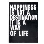 Tavla - Happiness (svartvit)