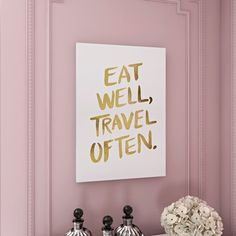 """House of Hampton """"Eat Well"""" Type Gold Artprint by Cat Coquillette Textual Art on Wrapped Canvas Size:"""