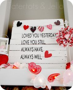 Easy Valentine's Day Pallet Art, garland and wreath mantel idea