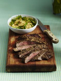 grilled steak marinades This flank steak is loaded up with great Moroccan spices. The marinade will keep it tender, but you want to grill this steak hot and fast. Good Steak Recipes, Skirt Steak Recipes, Flank Steak Recipes, Grilling Recipes, Beef Recipes, Mexican Recipes, Fajita Marinade, Steak Marinade For Grilling, Marinated Flank Steak