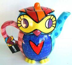 Adorable Romero Britto 3D Owl Trinket Jewelry  Box 5 x 3 x 4 Inch