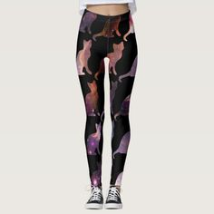 A great design print for feline lover. The printed legging is really beautiful for just about anybody.  The color blends are unique and attractive.  A great casual style for everyday wear. #casualoutfits #streetcasualwear #streetcasual #streetstyle #streetfashion #leggings