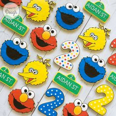 Sesame Street cookies — Playing with Dough Second Birthday Ideas, Baby Boy First Birthday, Elmo Birthday, Birthday Cookies, 2nd Birthday Parties, Dinosaur Birthday, Sesame Street Birthday Cakes, Sesame Street Cupcakes, Sesame Street Cake