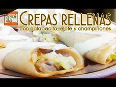 Crepas rellenas con calabacita, elote y champiñones - Cocina Vegan Fácil - YouTube