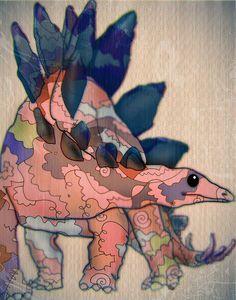 Items similar to stegosaurus dinosaur ART PRINT on Etsy Dinosaur Fossils, Dinosaur Art, Dinosaur Tattoos, Dinosaur Images, Illustrators, Art For Kids, Cool Art, Art Drawings, Art Projects