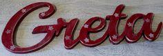 Türschild Holz Kind Namensschild Greta shabby von Inas Nordlichter auf DaWanda.com