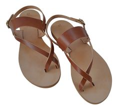 Handmade real leather high quality sandals. Made with brown leather.  Our sandals are produced in Greece, with high quality materials. This pair