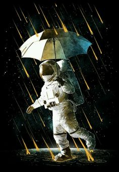 """Meteor shower. ( I dub this """"Astronaut Poppins."""" Heh.)"""