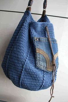 Crochet pattern, crochet bag pattern, upcycled denim drawstring, granny crochet bag pattern 276 Inst - Bags and Purses 👜 Crochet Shell Stitch, Crochet Tote, Crochet Handbags, Crochet Purses, Bead Crochet, Crochet Shawl, Crochet Stitches, Crochet Hooks, Crochet Patterns