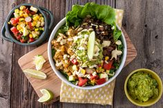 Vegan Mexican mucho bowl with cashew cream/cheese & quinoa