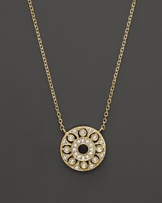 Classic circular pendant accented with diamonds in yellow gold from Kc Designs. Jewelry Necklaces, Gold Necklace, Jewellery, Diamond Pendant, Jewelry Accessories, Fine Jewelry, Pendants, Jewels, Diamonds