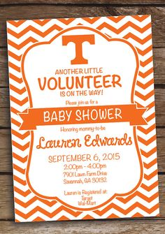 Tennesse Volunteer Baby Shower Invitation Birthday Party   Printed Or  Printable