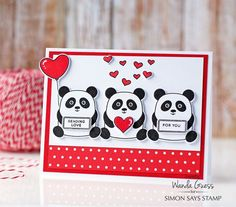 "Panda love! Simon Says Stamp new ""My Favorite"" release. Card by Wanda Guess."