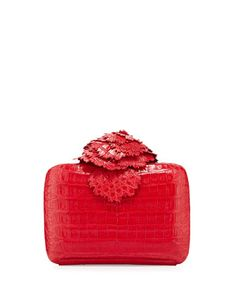 Crocodile Flower Minaudiere, Red by Nancy Gonzalez at Neiman Marcus.