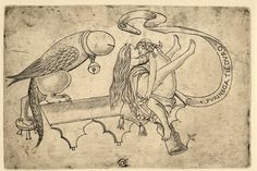 """An allegory on copulation; a man and a woman embracing on a bench, with a bird in the form of a penis on the l and on the r a scroll inscribed """"PVRINEGA TIE[N] DVRO""""; 1934 re-strike.  c.1470-80  Engraving"""