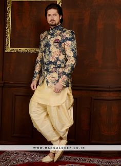 Handsome art banarasi silk engagement wear three piece jodhpuri suit beautified with floral digital print and pocket is pleasing appearance. Sherwani For Men Wedding, Wedding Dresses Men Indian, Sherwani Groom, Mens Sherwani, Wedding Dress Men, Tuxedos, Wedding Wear, Wedding Suits, Kurta Pajama Men