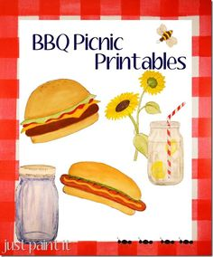 """FREE BBQ Picnic Printables - hand drawn & painted signs, waterbottle wraps and 2"""" rounds"""