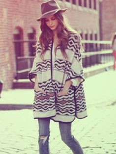 Aztec prints and over sized knit. #musthave