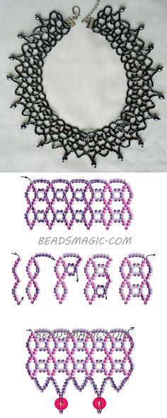 Free pattern for beaded necklace Black Net 11/0 2 szín-6 mm golyó