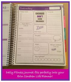 Printable Daily Fitness Planner / Fitness Journal Dashboard for Erin Condren Life Planner. INSTANT DOWNLOAD!!